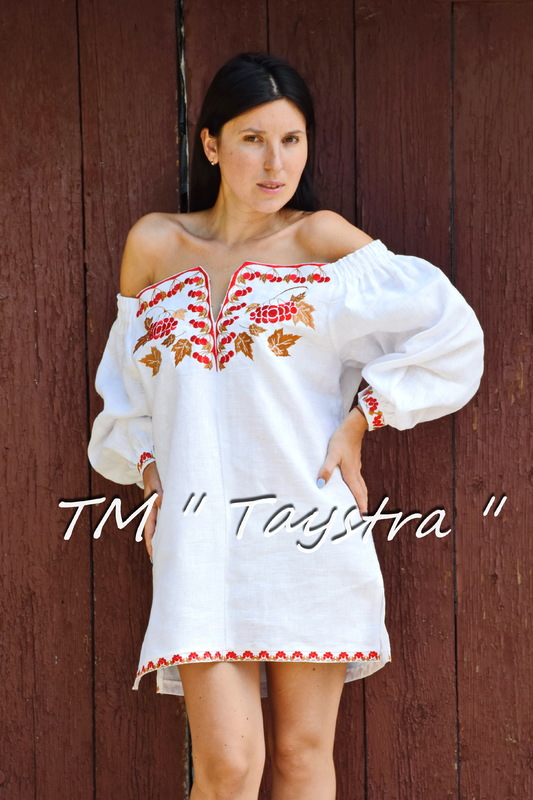 Vyshyvanka Embroidered Short White Dress Tunic Linen, Mini Dress,Ukrainian embroidered, Boho style, Bohemian, ethno