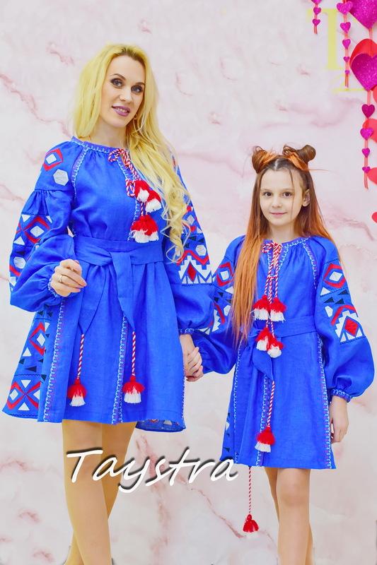 Dress Children Embroidered vyshyvanka boho style, Blue dress, Dress for a girl, vyshyvanka baby