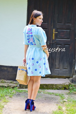 Embroidered Dress Linen Vyshyvanka Dressing Gown Ukrainian embroidery Sky-Blue Dress