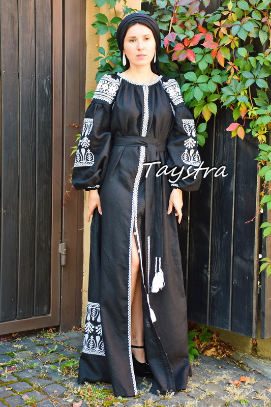 Embroidered Maxi Dress Arabic, Black Dress Arabic style Embroidered Dress