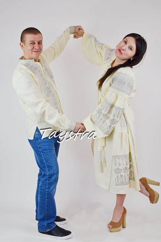Two-piece embroidered linen clothes for two, for the wedding, embroidered for family, embroidered linen, ethno, style boho chic, Bohemian, Vyshyvanka Dress Multi Color Embroidery Linen, Ukrainian embroidery