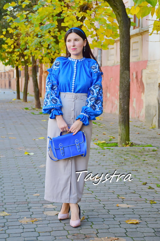 Women's blouse Vyshyvanka, Boho embroidered embroidery ethno style blouse, linen blue blouse Ukrainian embroidery