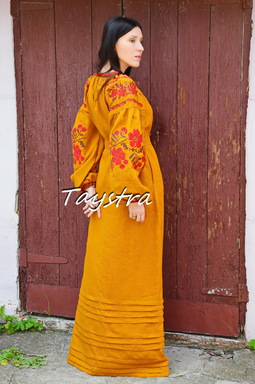 Dress Ukrainian embroidery, Boho ethno style boho chic, Embroidered Honey Dress Vyshyvanka, Multi Color Embroidery Linen