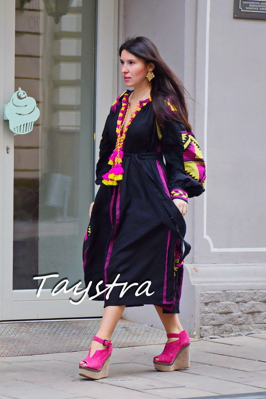 Dress Boho Four Embroidered Wedges, Black Dress style boho chic, Bohemian Vyshyvanka Dress Multi Color Embroidery Linen, Ukrainian embroidery