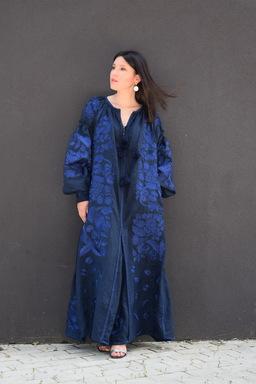 Dress Boho Embroidered Vyshyvanka Dress Embroidery Linen Maxi Dress Dark blue
