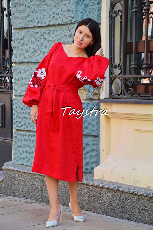 Embroidered dress linen tunic vyshyvanka Ukrainian embroidered, Boho style, Bohemian, ethno
