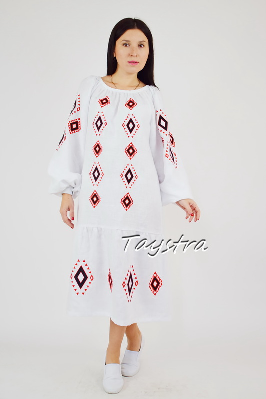 Embroidered dress linen vyshyvanka Ukrainian embroidered sundress Boho style ethno