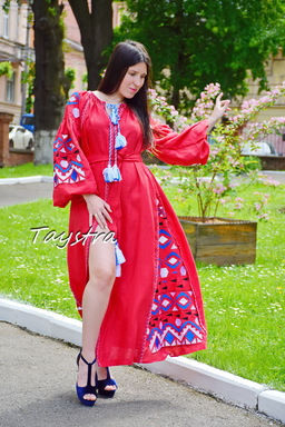 Red Maxi Dress Embroidery Linen Dress Vyshyvanka Ukrainian embroidery Dress Embroidered