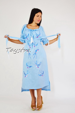 Vyshyvanka Dress Embroidery Linen, Ukrainian embroidery Sky-Blue Dress Embroidery Linen Ukrainian embroidery