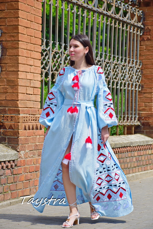 Blue Maxi Dress Embroidered Vyshyvanka Dress Embroidered Linen Mini Dress