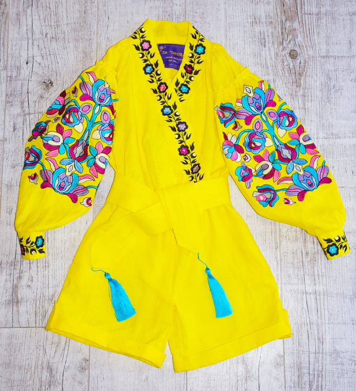 Children's Embroidered linen yellow jumpsuit, Boho embroidered clothing natural