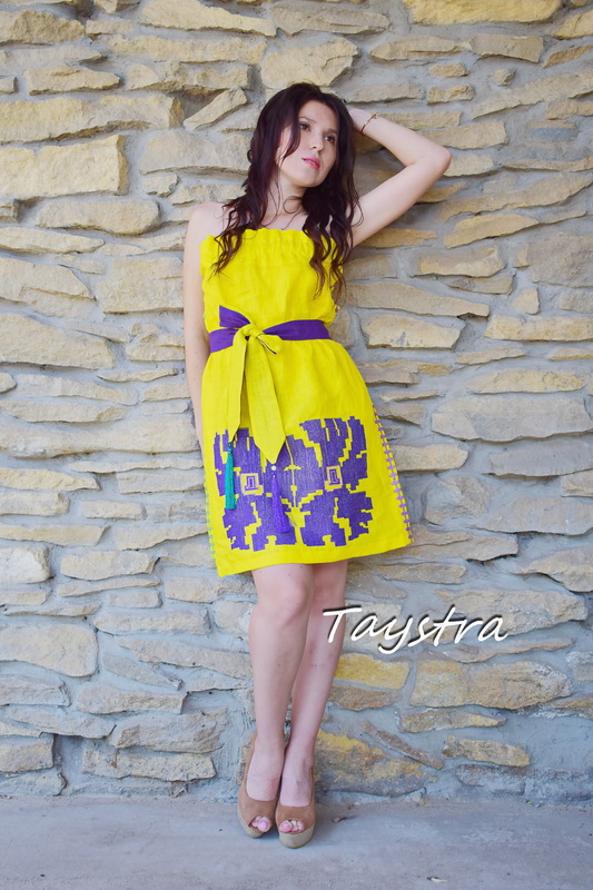 Dress Multi Color Embroidery Linen, Yellow Dress Ukrainian embroidery, Mini Dress Embroidered