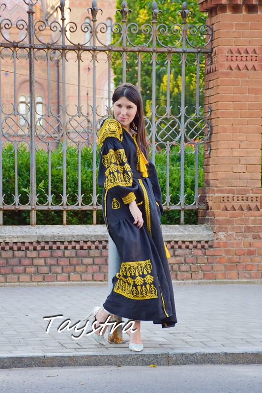 Black Dress Embroidered Maxi Dress Arabic style Embroidered Dress