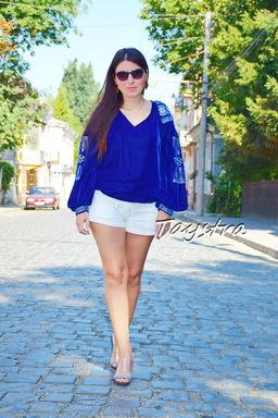 Boho Blouse Velvet Blue blouse Silver Embroidery, ethno style boho chic, Bohemian Vyshyvanka