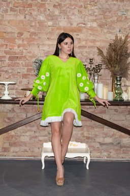 Vyshyvanka Dress, Velvet Dress Bright Green, Neon Dress Fashionable
