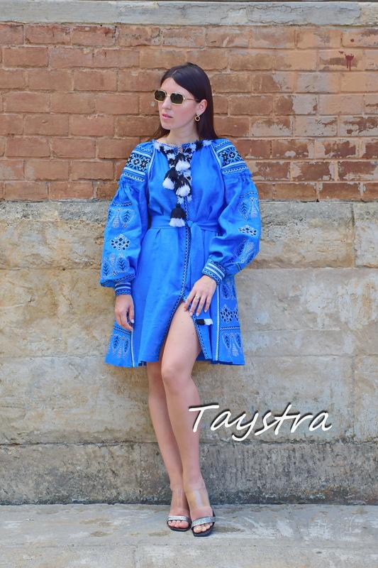 Vyshyvanka Dress Embroidered Linen Dress Ukrainian Short Blue Dress