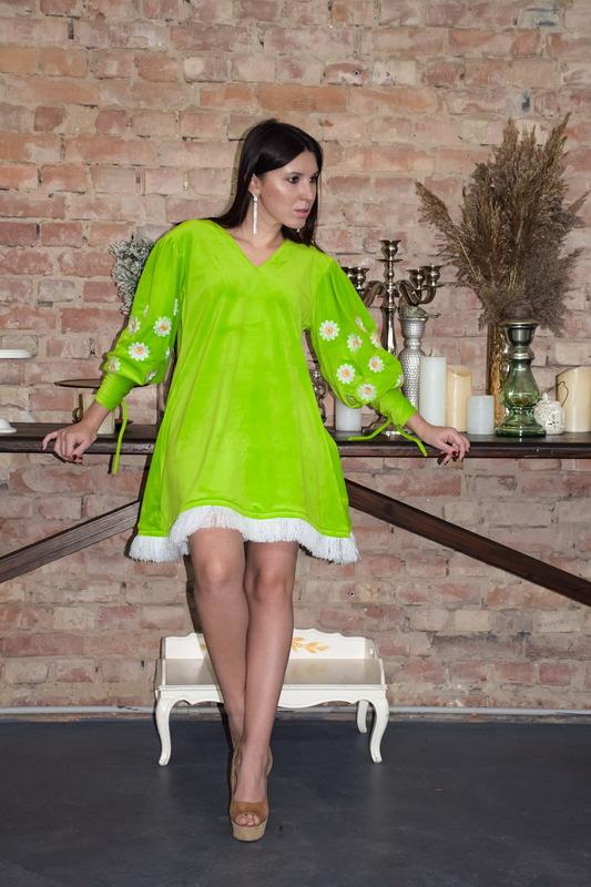Vyshyvanka Dress, Velvet Dress Bright Green, Neon Dress Fashionable