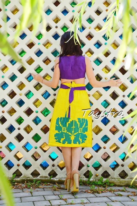 Boho skirt style embroidered linen skirt, bright long skirt with belt, embroidered summer skirt