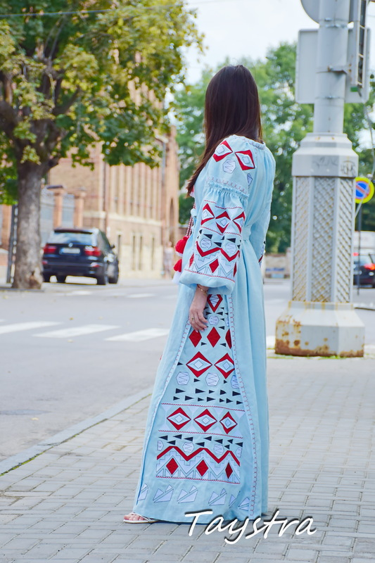 Blue Maxi Dress Embroidered Vyshyvanka Dress Embroidered Linen Mini Dress