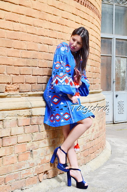 Blue Short  Dress Embroidered Vyshyvanka Dress Embroidery Linen Mini Dress