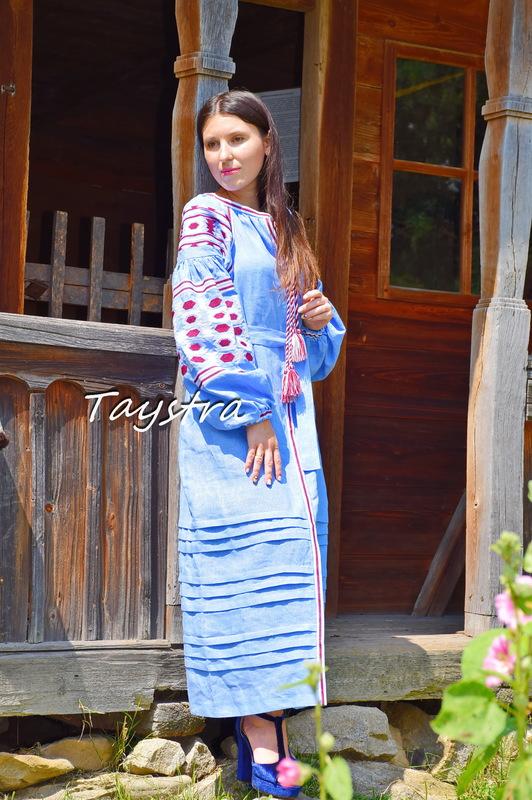 Embroidered Dress boho chic Vyshyvanka Dress Linen Ukrainian embroidery