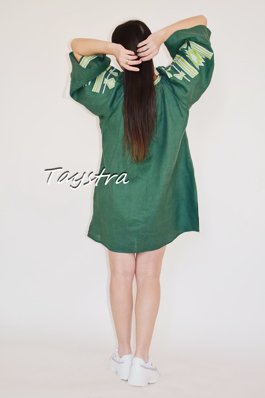 Embroidered short dress Ukrainian embroidered Green Tunic Vyshyvanka