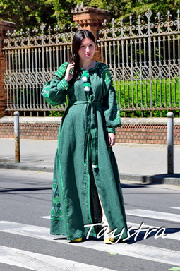 Green Dress Linen Vyshyvanka, Stylish Evening Dress Ukrainian Embroidered Dress