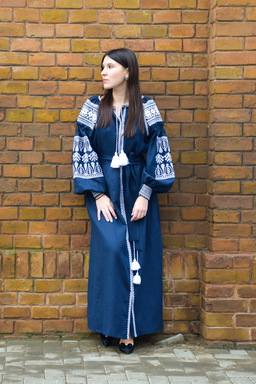 Embroidered Vyshyvanka Dress Dark Blue Embroidery Linen Dress