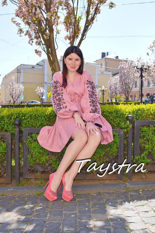 Dress Vyshyvanka Multi Color Embroidery Linen, Ukrainian embroidery, Pink  Robe Dress
