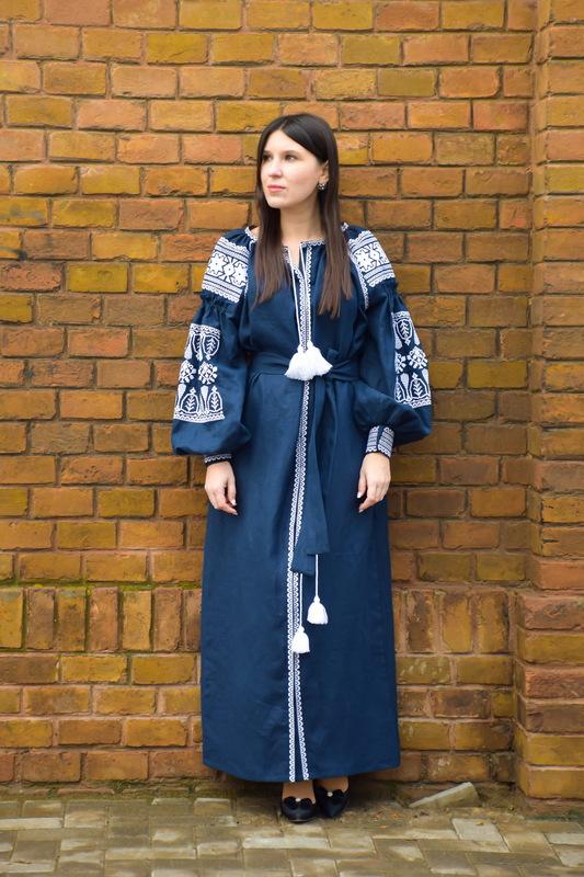 Embroidered Vyshyvanka Dress Dark Blue Embroidery Linen Dress