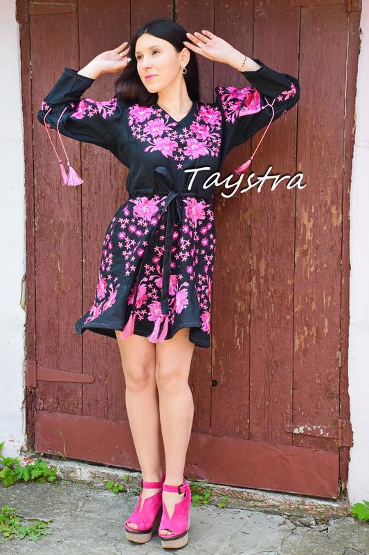 Embroidered Dress linen ethno style boho chic Vyshyvanka Dress Embroidery Linen Ukrainian embroidery Fashionable stylish evening dress