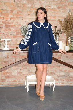 Dress with linen collar, dark blue embroidered dress, turn-down collar dress, stylish fashionable dress