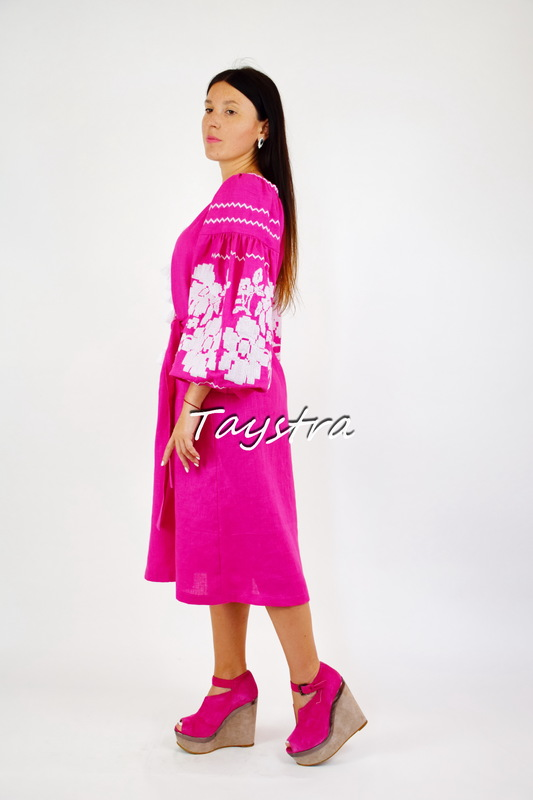 Bright Short Dress Tunic Dress Color Embroidery Linen Bohemian Vyshyvanka Ukrainian embroidery