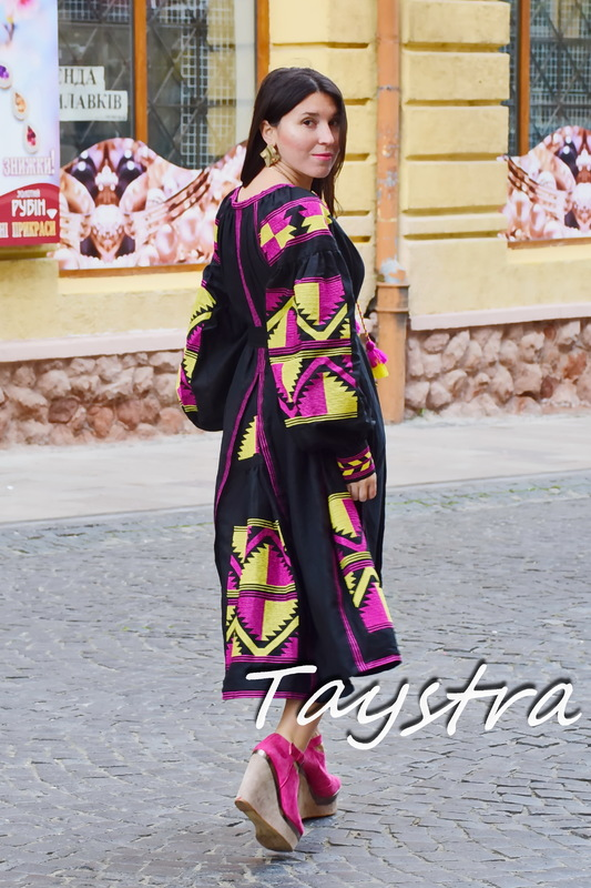 Dress Boho Four Embroidered Wedges, Black Dress Ukrainian embroidery