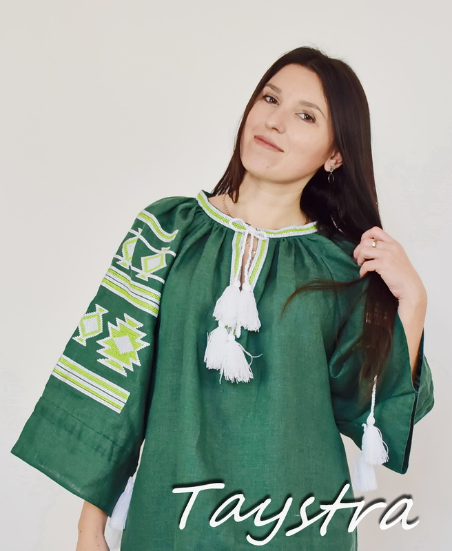 Green Blouse Embroidered Linen Vyshyvanka, Embroidered clothes