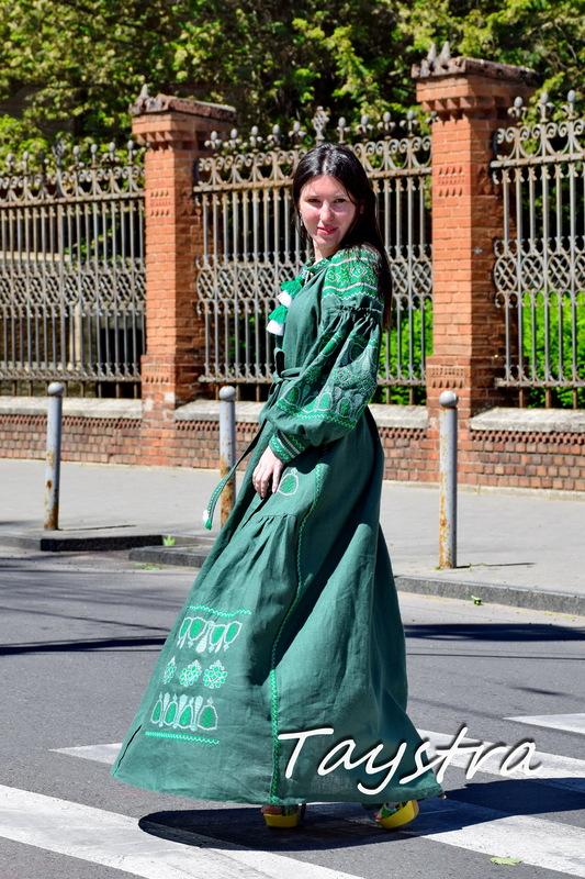 Green Dress Linen Vyshyvanka, Stylish Evening Dress Ukrainian Embroidered Dress