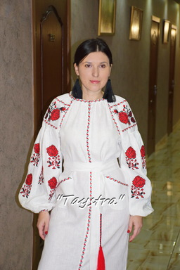 White  Dress Ukrainian embroidery, Boho, ethno, style boho chic, Embroidered dress, Multi Color Embroidery Linen