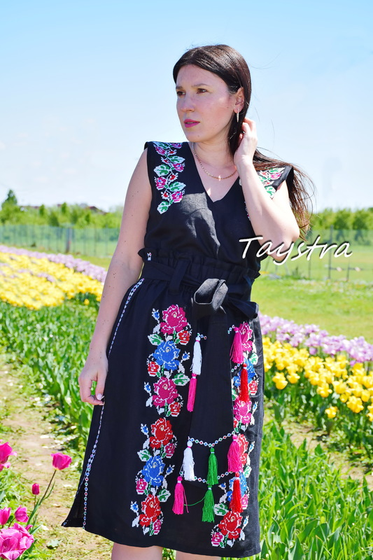 Embroidered skirt with belt and blouse vest in boho style, embroidered summer clothes, black skirt and blouse set