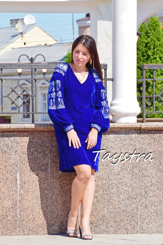 Velvet Short Blue Dress Silver Embroidery, Vyshyvanka Dress Ukrainian embroidery