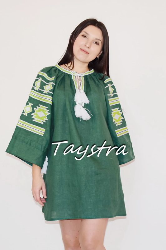 Embroidered short dress Ukrainian embroidered Green Tunic Vyshyvanka