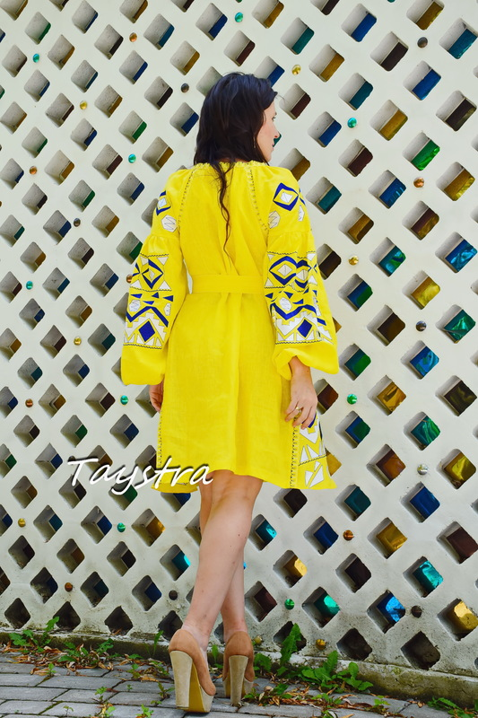 Yellow Dress Embroidered Vyshyvanka Short Dress Embroidery Linen Dress Gypsy