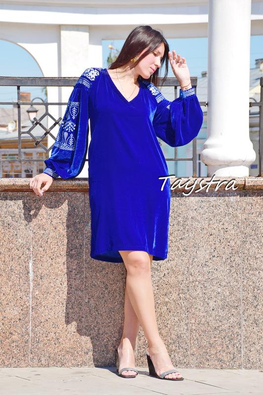 Velvet Short Blue Dress Silver Embroidery, Vyshyvanka Dress Ukrainian embroidery
