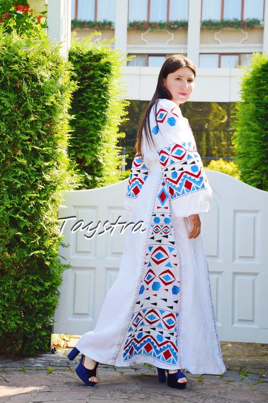 White Evening Maxi Dress Ukrainian embroidery, Multi Color Embroidery Linen Dress Embroidered Vyshyvanka