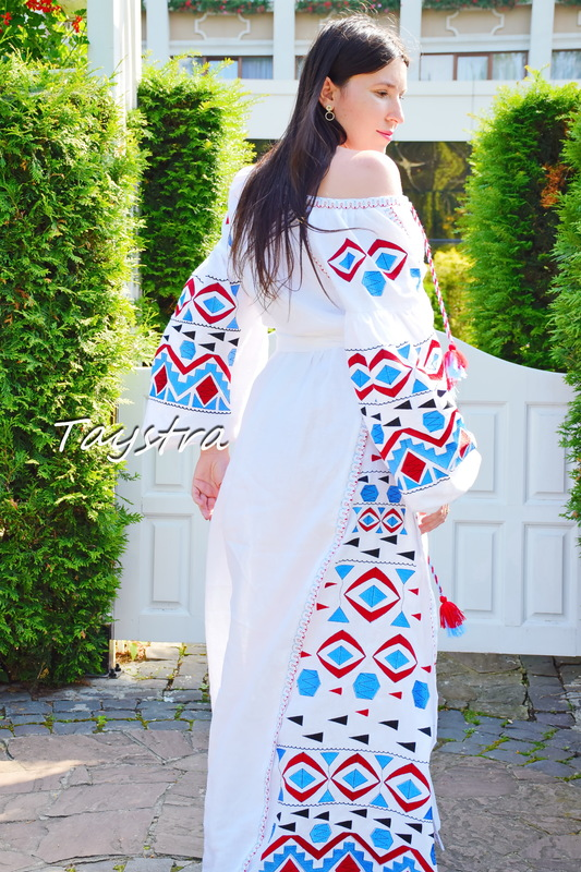 White Evening Maxi Dress Ukrainian embroidery, Multi Color Embroidery Linen Dress Embroidered Vyshyvanka