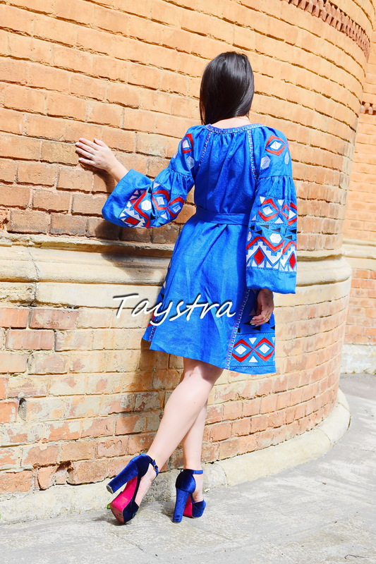 Blue Short  Dress Embroidered Vyshyvanka Dress Embroidery Linen Mini Dress