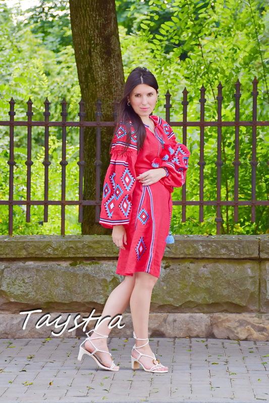 Red Midi Dress Embroidered, Boho Chic Red Linen Dress Vyshyvanka Ukrainian embroidery