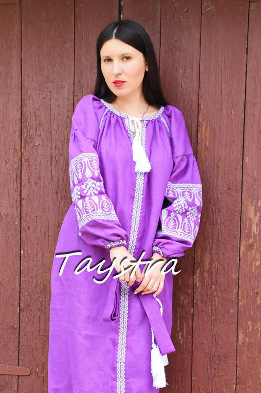 Violet Purple Dress embroidered linen ethno style boho chic Vyshyvanka Dress Embroidery Linen Ukrainian embroidery