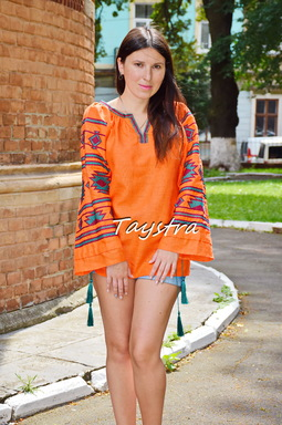 Orange Vyshyvanka ethno style boho chic, Embroidered Blouse, Multi Color Embroidery Linen, Embroidered clothes Bohemian Blouse