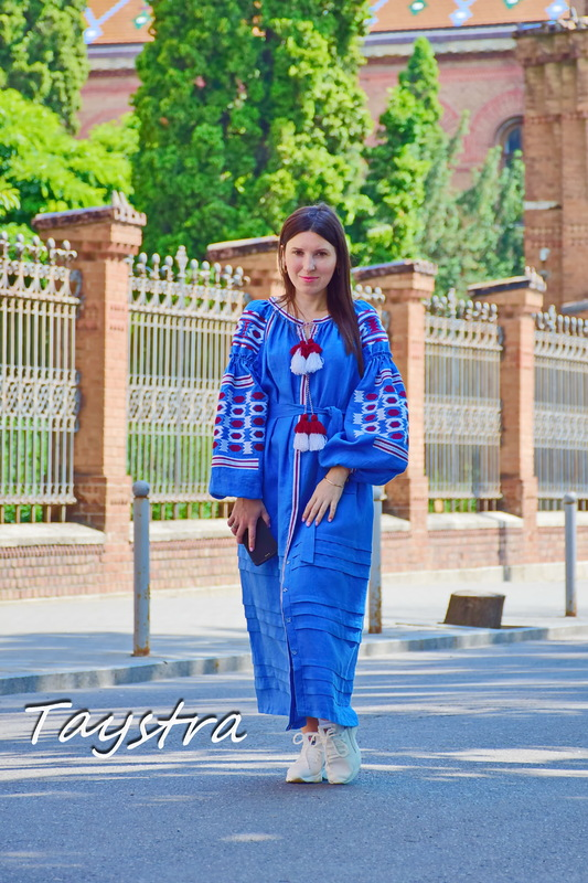 Vyshyvanka Blue Dress Multi Color Embroidery Linen Dress Ukrainian Dress Embroidered