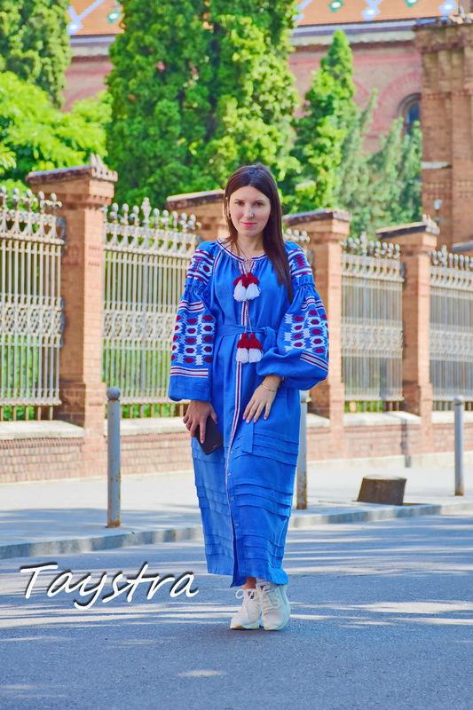 Vyshyvanka Blue Dress Multi Color Embroidery Linen Dress Ukrainian Dress Embroidered